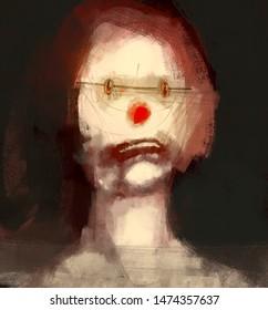 Digital traditional painting of a sad clown strange doll concept art weird horror illustration