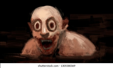 Digital traditional painting of a scary creepy man smiling in the dark halloween horror illustration