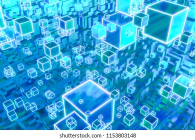 Digital tranformation square box elements with abstract 3D rendering of scientific technology for big data analysis or artificial intelligence concept