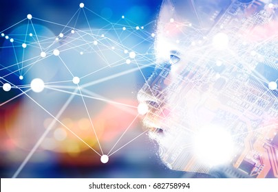 Digital transformation of artificial intelligence (ai) technology disruption .Neural networks connect atoms , 3d rendering of robot human and electronic circuit board.