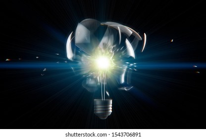 Digital transformation disruption industry technology , artificial intelligence concept. Exploding light bulb on a dark background, 3D illuatration