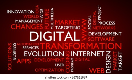 Digital transformation word tag cloud. 3D rendering, red variant.