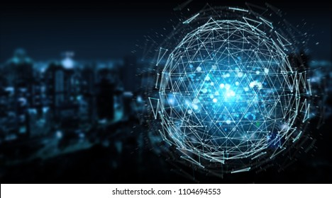Digital triangle exploding sphere hologram on blue city background 3D rendering