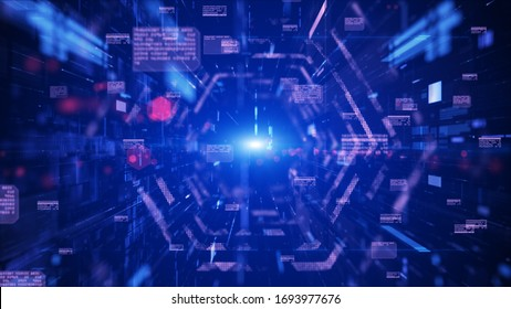 Digital tunnel cyberspace and digital data network connections concept. Transfer digital data hi-speed internet, Future technology digital background concept.