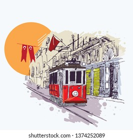 Digital vector illustration of the nostalgic red tram in Istiklal Avenue, Istanbul, Turkey. Artistic sketchy style cityscape scene.
