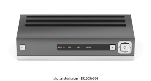 Digital video recorder or IPTV receiver on white background, front view. 3D illustration