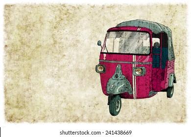 Digital vintage illustration of a tuc tuc
