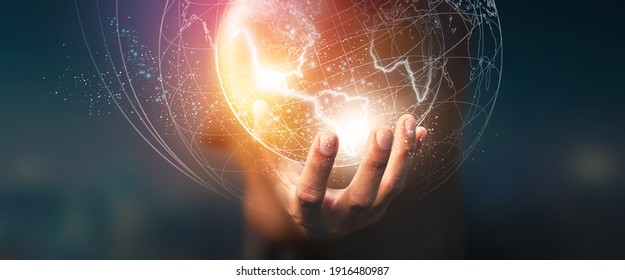 Digital of Virtual Online Global structure networking on Businessman hand in dark background. 3D illustration in Technology concepts - Elements of this Image Furnished by NASA.