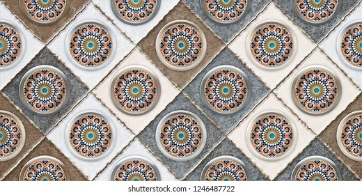 Digital Wall Tile Decor For Home, Ceramic Tile Design, Seamless colorful patchwork in turkish style. Indian, ottoman motifs. wallpaper, linoleum, textile, web page background, 3D.