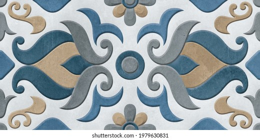 Digital Wall Tile Decor For Home, Ceramic Tile Design, Seamless colorful patchwork in Indian style, wallpaper, linoleum, textile, web page background - 3D Illustration