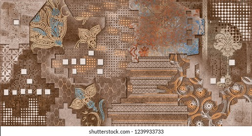 Digital Wall Tile Design, Wall tiles Decor on Brown Colored Marble For Home Decoration,3D illustration