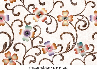 Digital wall tiles & abstract wallpapers designs with different pattern for kitchen, bathroom & living room - Illustration