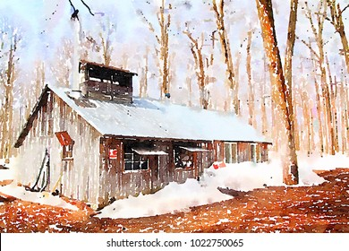 Digital watercolor of a beautiful and aged sugar shack during spring season in Quebec, Canada