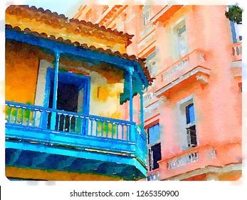 Digital watercolor of colourful building in Havana in Cuba