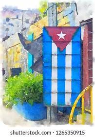 Digital watercolor of Cuban flag painted on a metal door in Havana in Cuba