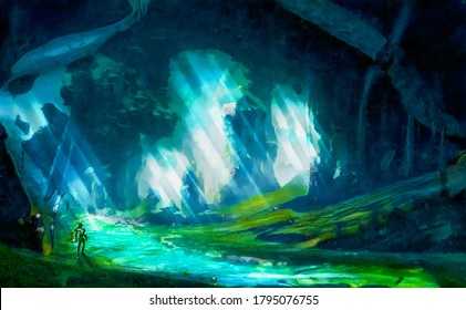 Digital Watercolor Illustration of an underground cave containing a fantasy alternate world. A mystic river streams inside of the cave and a mysterious person stands next to it.
