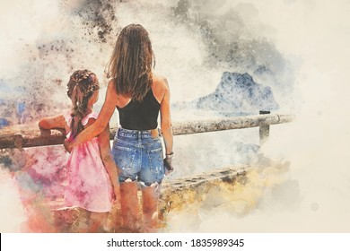 Digital watercolor image. Rear view mother hug daughter family traveling admiring nature views. Travel and tourism concept