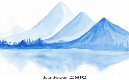 Digital watercolor landscape of blue vibrant mountain peaks with forest trees and their light reflexion. Peaceful tranquil hand drawn nature background for relaxation , meditation and restoration.