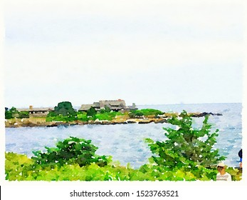 Digital Watercolor paining of President Bush family house in Kennebunkport Maine, by the sea with beautiful green trees and shrubs. With space for text.