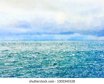 Digital watercolor painting of a beautiful blue green sea with a cloudy sky. With space for text.