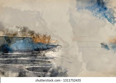 Digital watercolor painting of Beautiful sunrise landscape of Seven Sisters cliffs landmark on English coast