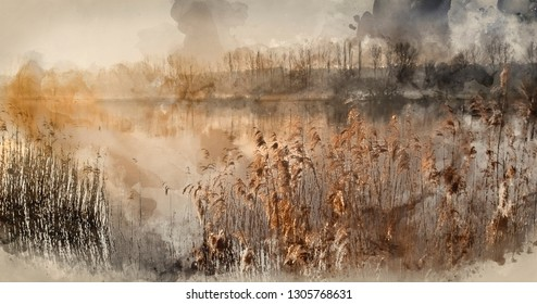 Digital watercolor painting of Beautiful tranquil landscape of lake in mist