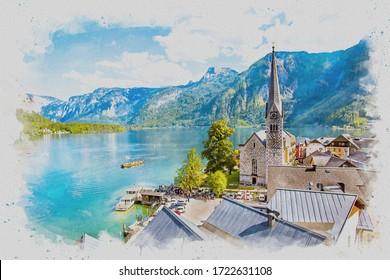 digitale Aquarellmalerei von schönem Aussichtspunkt in Hallstatt.