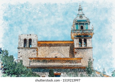 Digital watercolor painting of Carthusian Monastery of Valldemossa, island of Mallorca Spain.