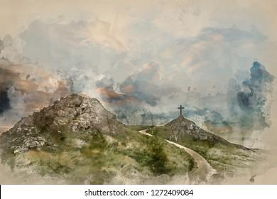 Digital watercolor painting of Cross in landscape of Ynys Llanddwyn Island with Twr Mawr lighthouse in background
