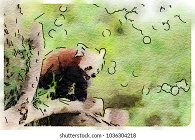 Digital watercolor painting of a cute red panda standing on a branch with its mouth open.