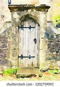 Digital watercolor painting of a decorative grey door with a light colored stone surround and green plants. Decorative image with space for text.