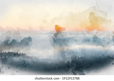 Digital watercolor painting of Epic landscape image of cloud inversion at sunset over Dartmoor National Park in Engand with cloud rolling through forest on horizon