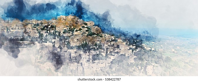 Digital watercolor painting of Gordes, is a very beautiful hilltop village in France. Provence-Alpes-Cote d'Azur region. Panoramic view.