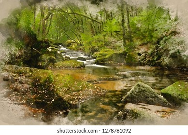 Digital watercolor painting of Landscape iamge of river flowing through lush green forest in Summer