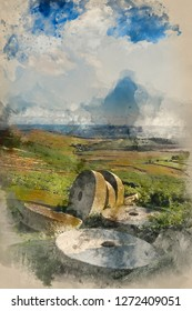 Digital watercolor painting of Landscape image of millstones on top of Stanage Edge in Peak District