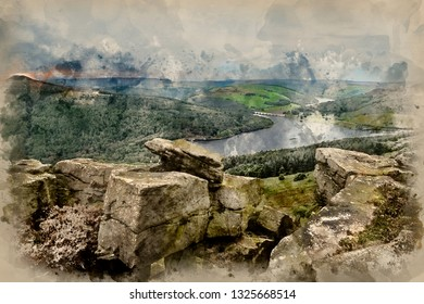 Digital watercolor painting of Landscape view from Bamford Edge in Peak District towards Ladybower Reservoir and Win Hill.
