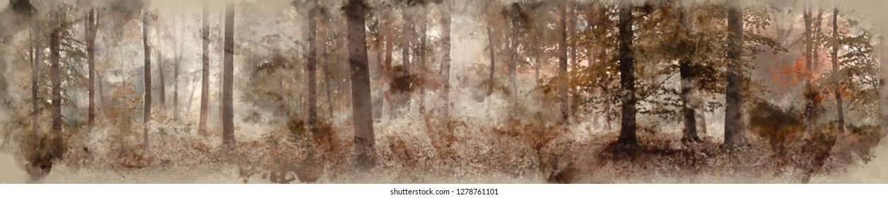 Digital watercolor painting of Large panorama foggy Autumn Fall forest landscape