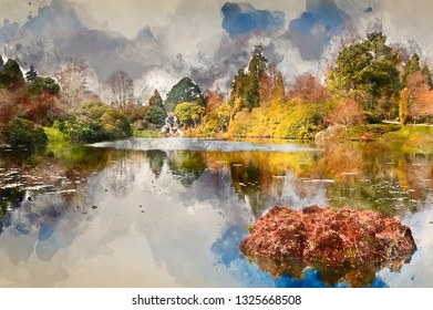 Digital watercolor painting of Lovely natural ornamental gardens in Spring with lake and waterfall