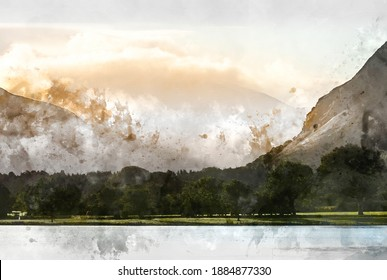 Digital watercolor painting of Lovely sunrise landscape image looking along Loweswater towards wonderful light on Grasmoor and Mellbreak mountains in Lkae District
