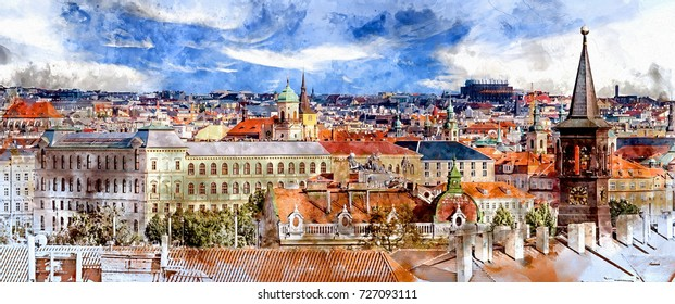 Digital watercolor painting of the Old Town in Prague, Czech Republic. Blue sky with clouds.