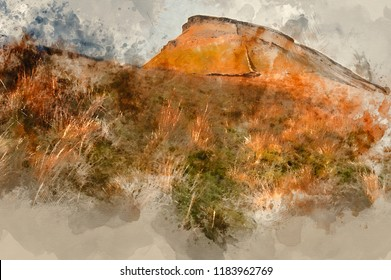 Digital watercolor painting of Pen-y-Ghent in low sunlight in Yorkshire Dales National Park