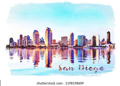 Digital watercolor painting from photograph of the tall skyscrapers of San Diego in California from Centennial Park in Coronado
