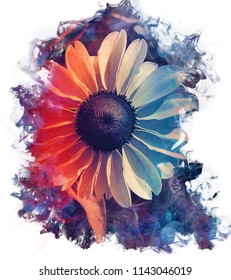 Digital watercolor painting with a smokey effect of a beautiful echinacea flower with orange and purple colors on a white background with space for text.