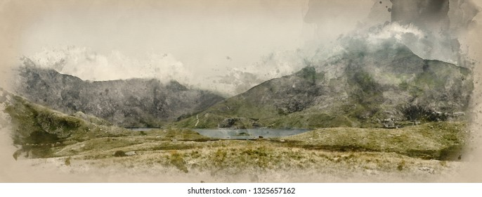 Digital watercolor painting of Snowdon Horseshoe mountain landscape with low level clouds