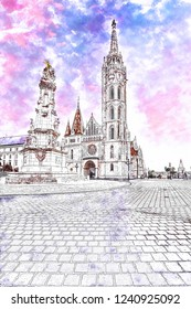 Digital watercolor painting of St. Matthias Church's in the Fisherman's Bastion, Budapest, Hungary