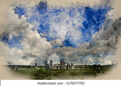 Digital watercolor painting of Stonehenge in England