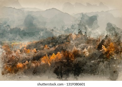 Digital watercolor painting of Stunning Autumn Fall landscape image of the view from Catbells in the Lake District