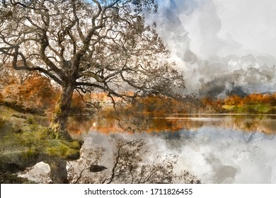 Digital watercolor painting of Stunning Autumn Fall landscape of lake in sunrise soft light in English countryside