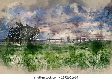 Digital watercolor painting of Stunning English countryside landscape over fields at sunset