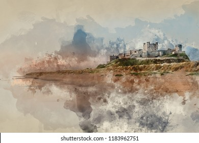 Digital watercolor painting of Stunning landscape image of Bamburgh Castle on Northumberland coast at sunrise with vibrant colors